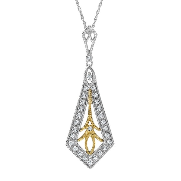 1/5 ct Diamond Pendant in Sterling Silver & 14K Gold