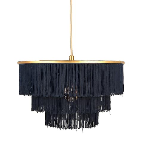 Gold Metal with 3-Tiered Navy Blue Fringe Pendant Lamp