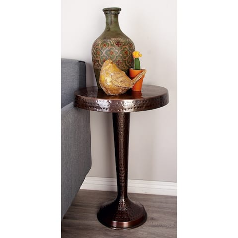 Rustic 26 x 19 Inch Round Aluminum Pedestal Table by Studio 350