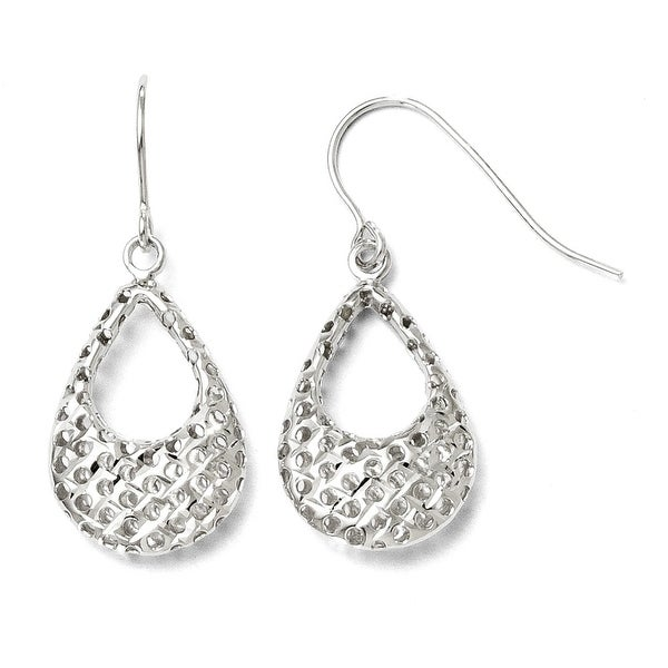 10k White Gold Textured Shepherd Hook Dangle Earrings
