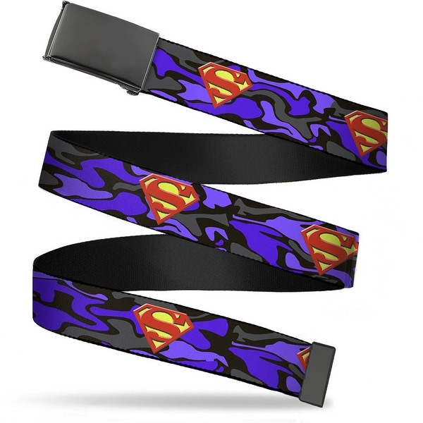 Blank Black Buckle Superman Shield Camo Blue Webbing Web Belt