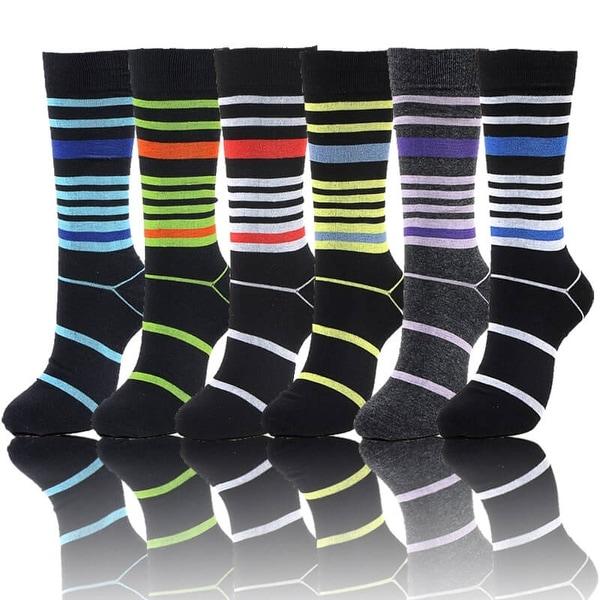 Mens Designer Dress Socks Size 10-13 Multi Stripe Print 6 Pairs (Size 10-13)