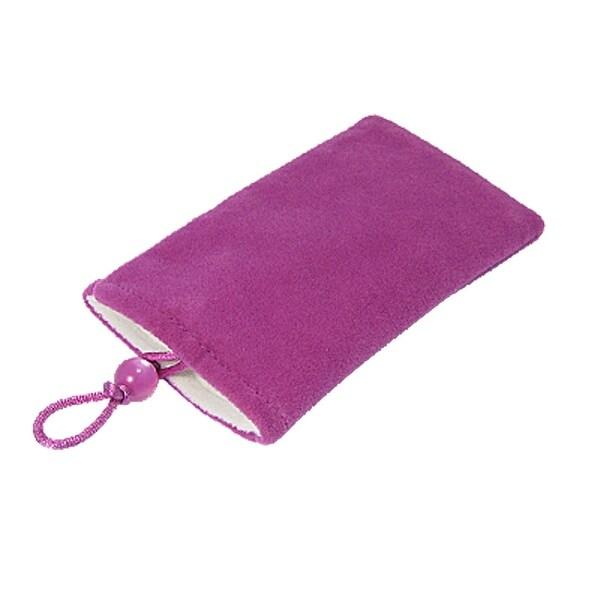 Unique Bargains Purple Red Plush Bead Button Closure Camera MP4 Pouch
