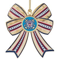 "3.25"" 24K Gold Finish US Coast Guard 3D Christmas Bow Ornament"