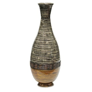 """27"""" Spun Bamboo Floor Vase - Bamboo In Distressed Brown And Gold"""