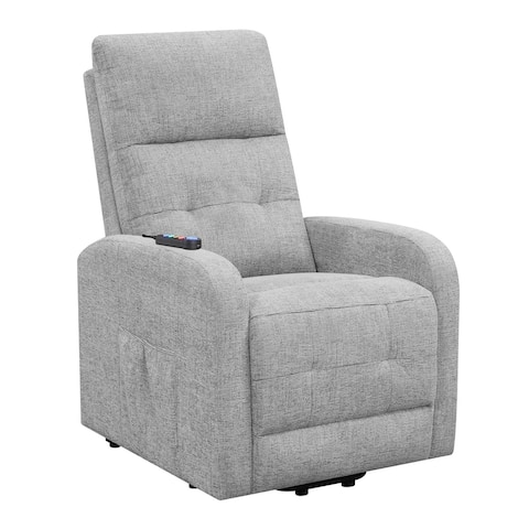 Fabric Power Lift Massage Chair with Tufted Stitched Accent, Gray