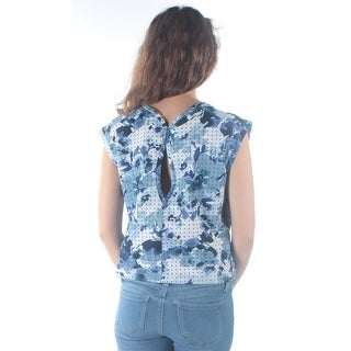 KIIND OF $59 Womens New 3931 Blue White Floral Jewel Neck Cap Sleeve Top XS B+B