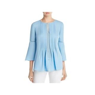 Elie Tahari Womens Orion Tunic Top Silk Pleated