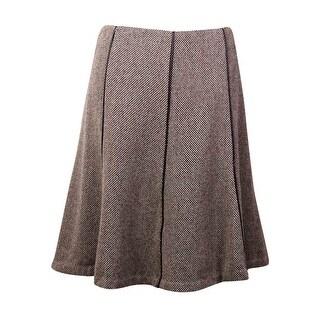 Lauren Ralph Lauren Women's Pleather Trim Tweed Skirt (8, Black/Cream)