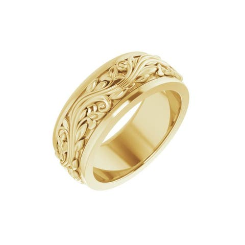 14K Gold 7 mm Sculptural-Inspired Band Ring for Women (Size :5.5)