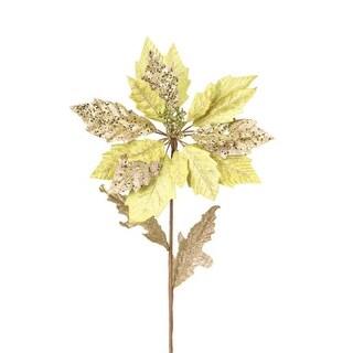 "Club Pack of 12 Winter Solace Gold Glitter Poinsettia Stem Christmas Picks 30"""