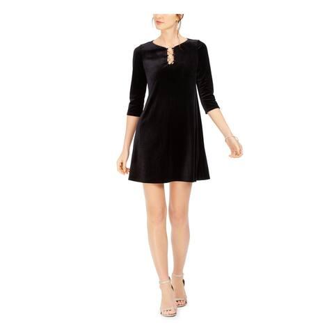 MSK Womens Black Long Sleeve Short A-Line Cocktail Dress Size PS
