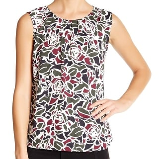 Nine West NEW Green Pine Tree Women's Size Large L Printed Blouse