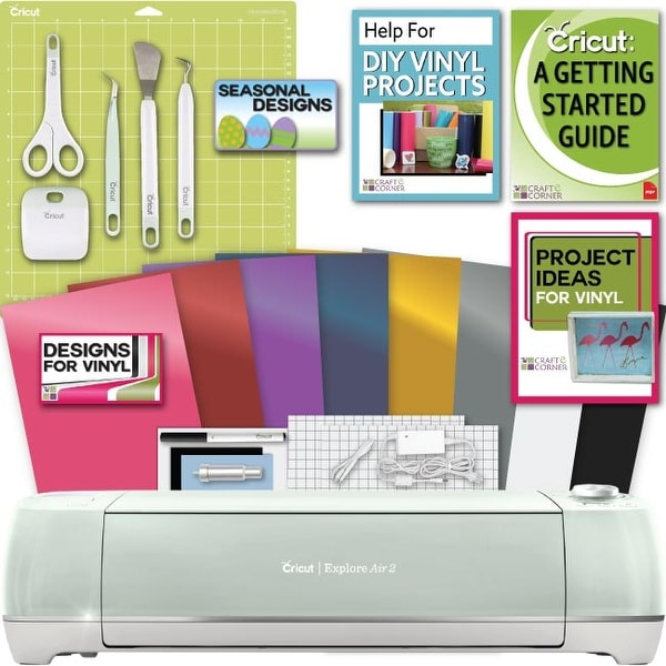 shop cricut explore air 2 machine bundle beginner guide tool kit rh overstock com