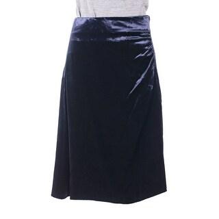 Prada Womens Blue Velvet Ruched Side Silk Lined Mini Skirt