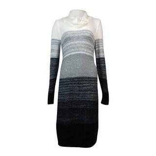 Calvin Klein Women's Ombre Cowl Neck Sweater Dress (M, Soft White Multi) - m
