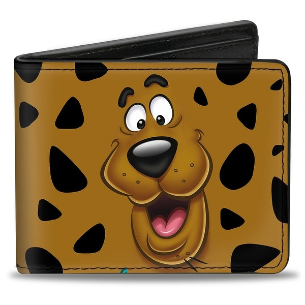 Scooby Doo Close Up Expression Spots Brown Black White Bi Fold Wallet - One Size Fits most