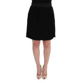 Dolce & Gabbana Dolce & Gabbana Black Wool Above Knees Pencil Skirt - it46-xl