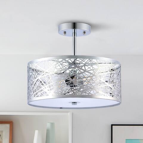 CO-Z Modern Industrial Semi Flush Mount Ceiling Light w Drum Shade - Silver