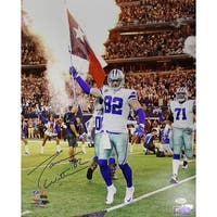Jason Witten Autographed Dallas Cowboys 16x20 Photo Flag JSA