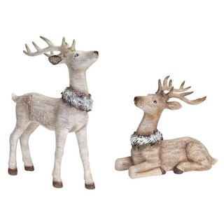 """Pack of 2 Cream and Brown Birch-Style Reindeer Table Top Christmas Decorations19.5"""""""