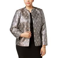 Kasper Beige Women's Size 24W Plus Satin Textured Blazer Jacket