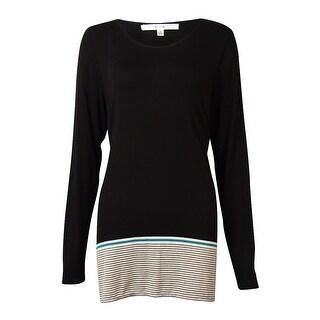 Studio M Women's Striped-Hem Knit Top - heather steel/black - l