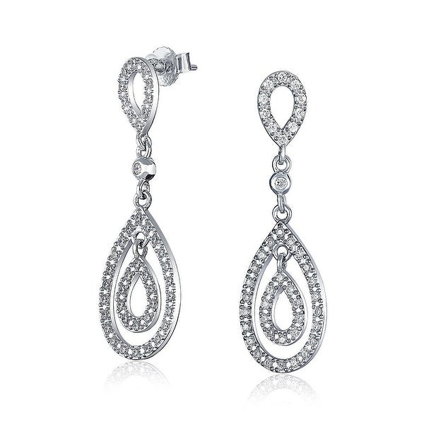Clic Bridal Prom Double Open Cubic Zirconia Pave Cz Long Teardrop Dangle Earrings For Women 925 Sterling Silver On Free Shipping Orders