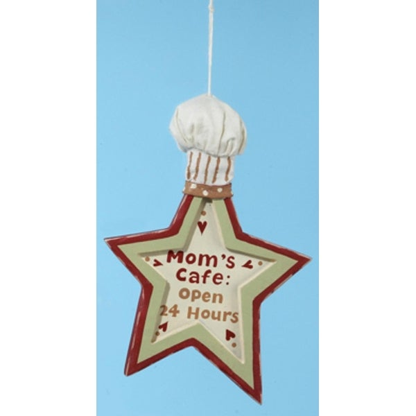 "Mom's Kitchen ""Mom's Cafe Open 24 Hours"" Star Shape Chef Hat Christmas Ornament - RED"