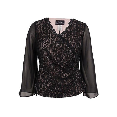 Alex Evening Women's Bell-Sleeve Lace Surplice Blouse - Black/Pink