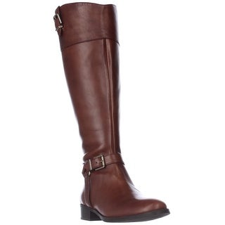 I35 Fedee Harness Strap Wide Calf Riding Boots, Cognac