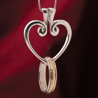 Women's Sterling Silver Hinged Heart Ring Holder Pendant Necklace