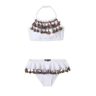 Stella Cove Girls White Multi Color Tassel Draped 2 Pc Bikini Swimsuit