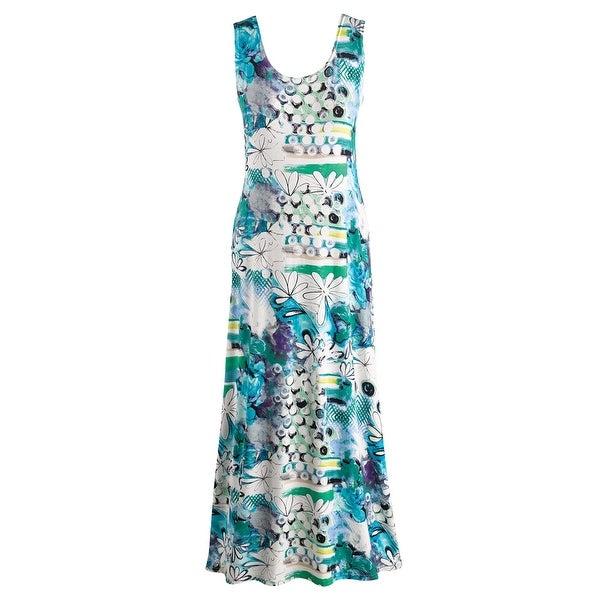 Women's Grapevine Print Blue Maxi Dress - Scoop Neckline Sleeveless