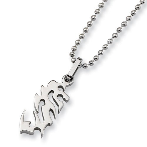 Chisel Polished Stainless Steel Tribal Design Pendant on 22 Inch Bead Chain (2 mm) - 22 in