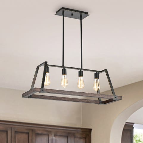 Wood and Oil Rubbed Bronze 4-Light Farmhouse Kitchen Island Lighting - Wood and Oil Rubbed Bronze