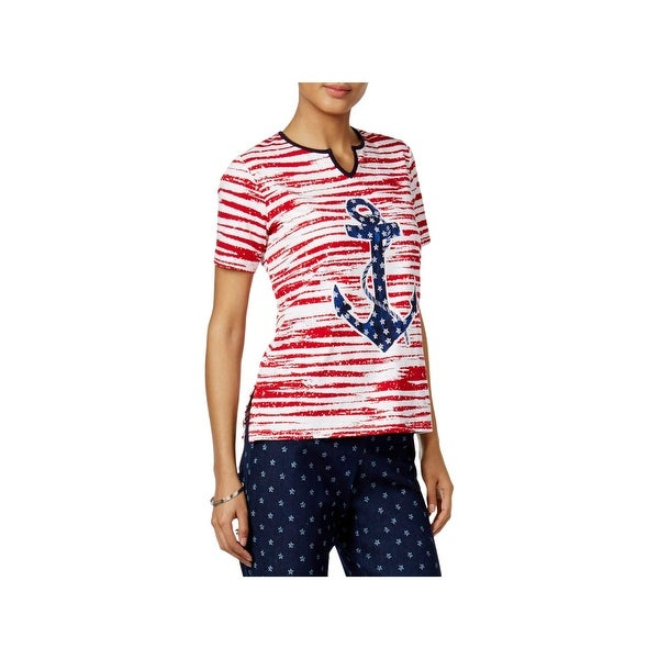 379d8d2296ab01 Shop Alfred Dunner Womens Petites Americana Pullover Top Striped Anchor -  Free Shipping On Orders Over  45 - Overstock - 21944794