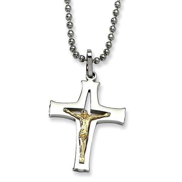 Chisel Stainless Steel & 14k Gold Crucifix Pendant 22 Inch Necklace (1 mm) - 22 in