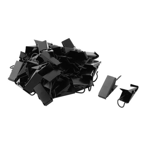 Household Metal Window Curtain Drapery Hanging Hook Clips Clamps Black 40pcs