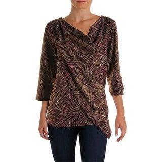 NY Collection Womens Metallic Asymmetric Pullover Top