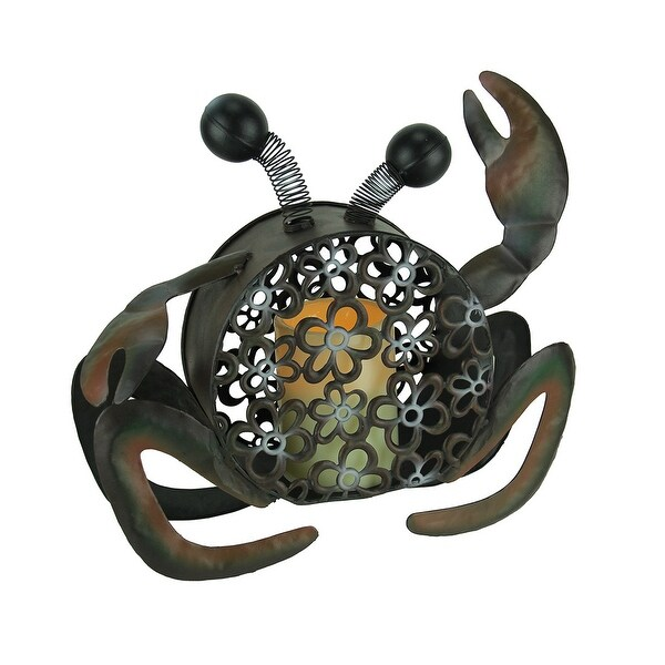 Floral Cutout Metal Beachcomber Crab with LED Candle - 11.5 X 12.5 X 4.25 inches
