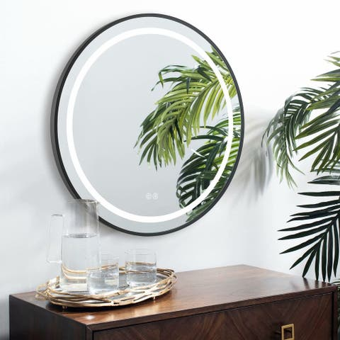 Dimmable Illuminated Round Bathroom Vanity LED Mirror with Light