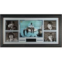 George Harrison unsigned Beatles 5 Photo 40x23 Leather Framed Ed Sullivan Show