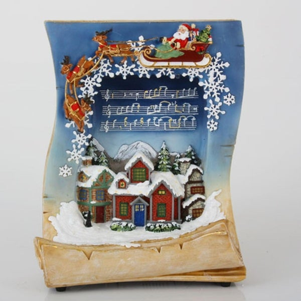 "10.5"" LED Lighted Musical Holiday Village Book Christmas Tabletop Decoration - brown"