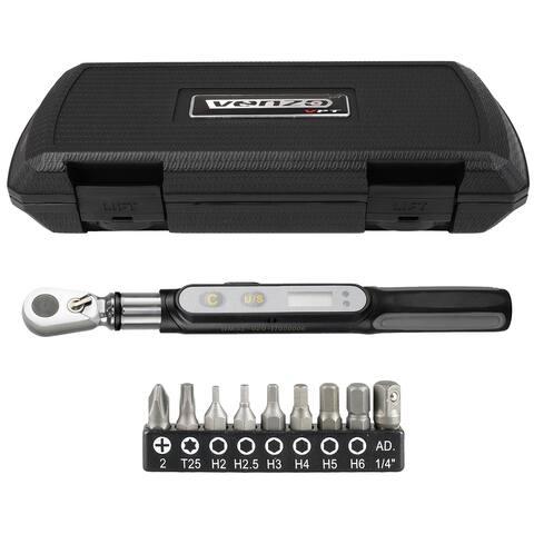 """VENZO Bike Bicycle Mini Digital Torque Wrench 0.3-20 N-m 1/4"""" Drive Hex Bits Tools Set"""