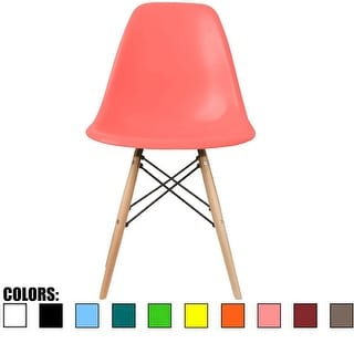 2xhome Pink - Eames Style Molded Bedroom & Dining Room Side Ray Chair with Natural Wood Eiffel Legs Base