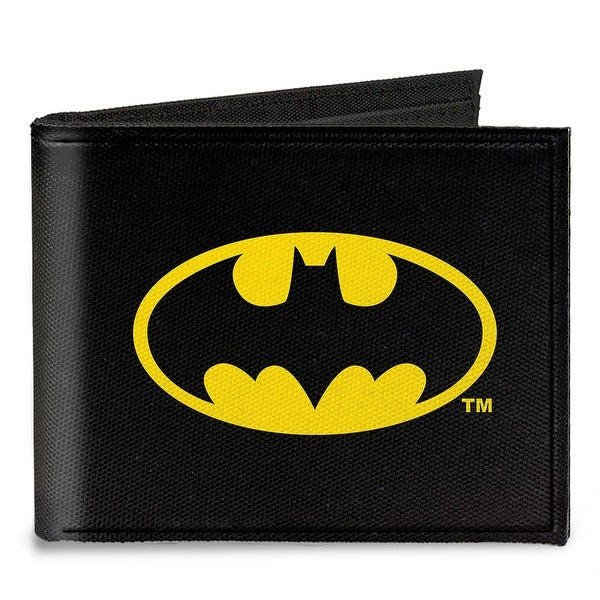 Batman Black Yellow Canvas Bi Fold Wallet One Size - One Size Fits most