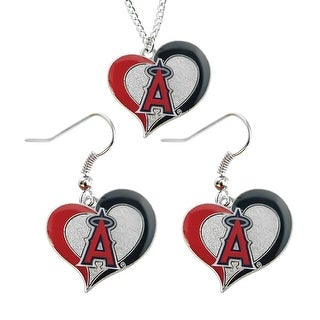 LA Los Angeles Angels Swirl Heart Necklace and Dangle Earring Set MLB Charm Gift