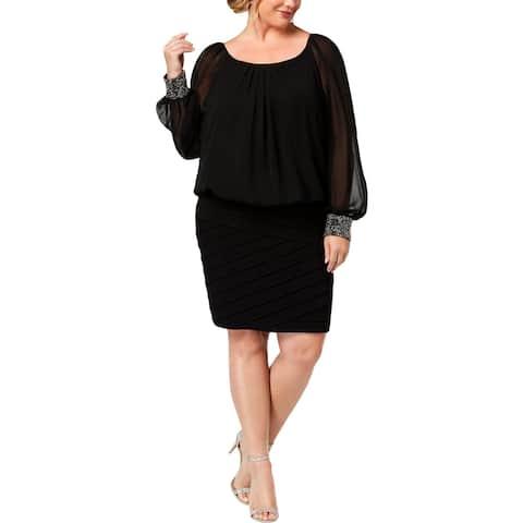Betsy & Adam Womens Plus Party Dress Blouson Shutter Pleat