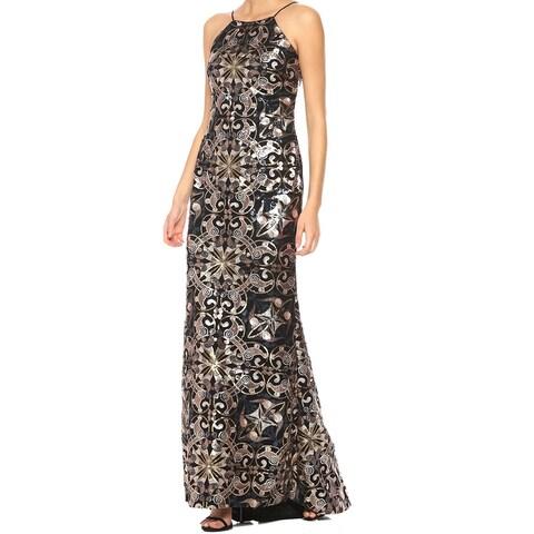 Calvin Klein Gold Womens Size 6 Sequin Scoop-Back Slip Gown Dress